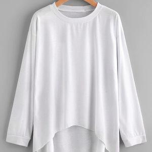 Tops - Drop Shoulder Dip Hem T-shirt